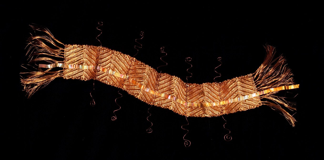 Copper Jester, woven wire and metal sculptural wall hanging by Susan McGehee