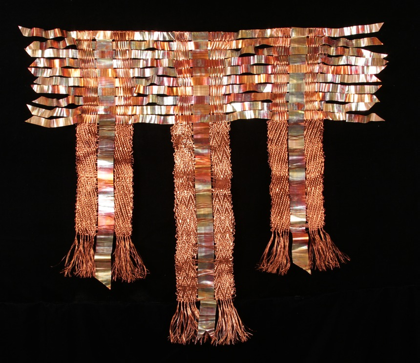 Copper Triptyych, woven copper coated wire with recycled copperinserts.