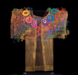 "Festival Kimono 13"" x 13"", bronze screen embellished with found items & recycled telephone wire."