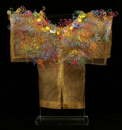 Mariposa Kimono, bronze screen embellished with found items & recycled telephone wire.