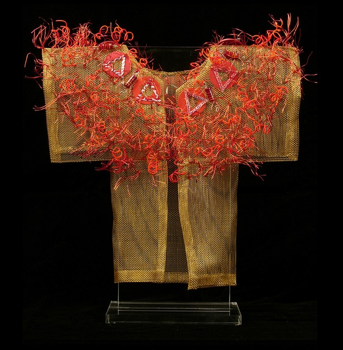 Red Doodle Kimono, bronze screen embellished with found items & recycled telephone wire.